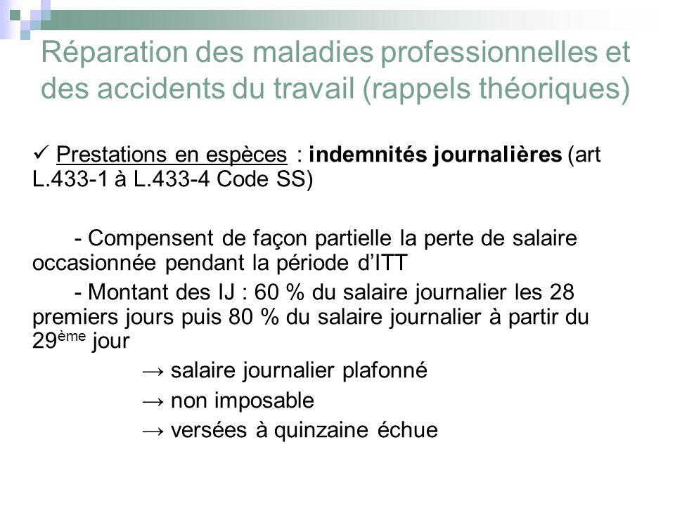 Réparation des maladies professionnelles et des accidents du travail (rappels théoriques) Prestations en espèces : indemnités journalières (art L.433-