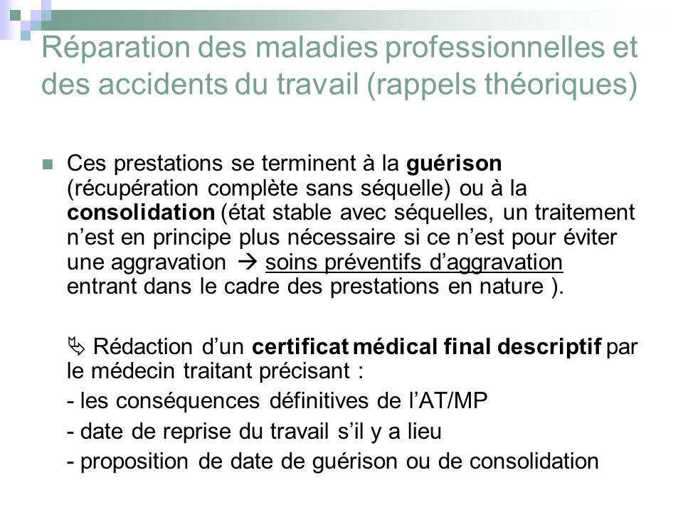 Réparation des maladies professionnelles et des accidents du travail (rappels théoriques) Ces prestations se terminent à la guérison (récupération com