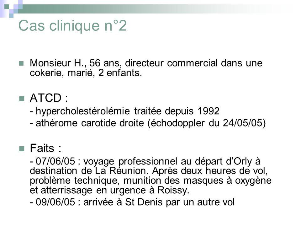 Cas clinique n°2 Monsieur H., 56 ans, directeur commercial dans une cokerie, marié, 2 enfants. ATCD : - hypercholestérolémie traitée depuis 1992 - ath