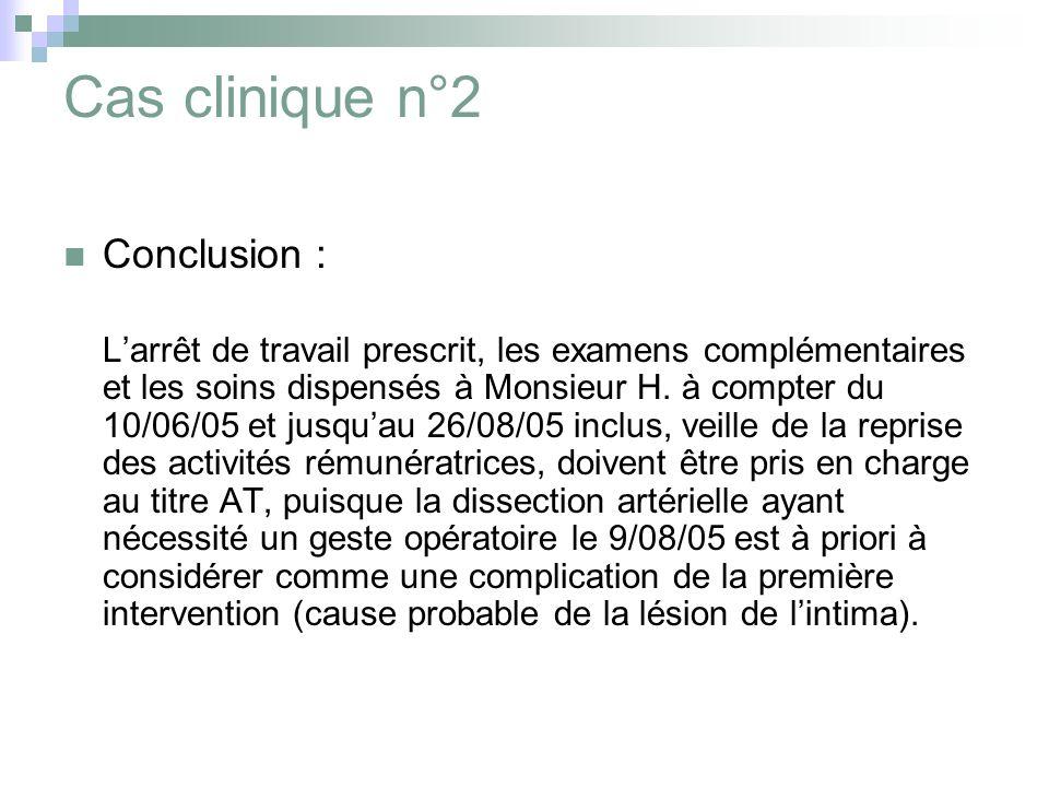 Cas clinique n°2 Conclusion : Larrêt de travail prescrit, les examens complémentaires et les soins dispensés à Monsieur H. à compter du 10/06/05 et ju