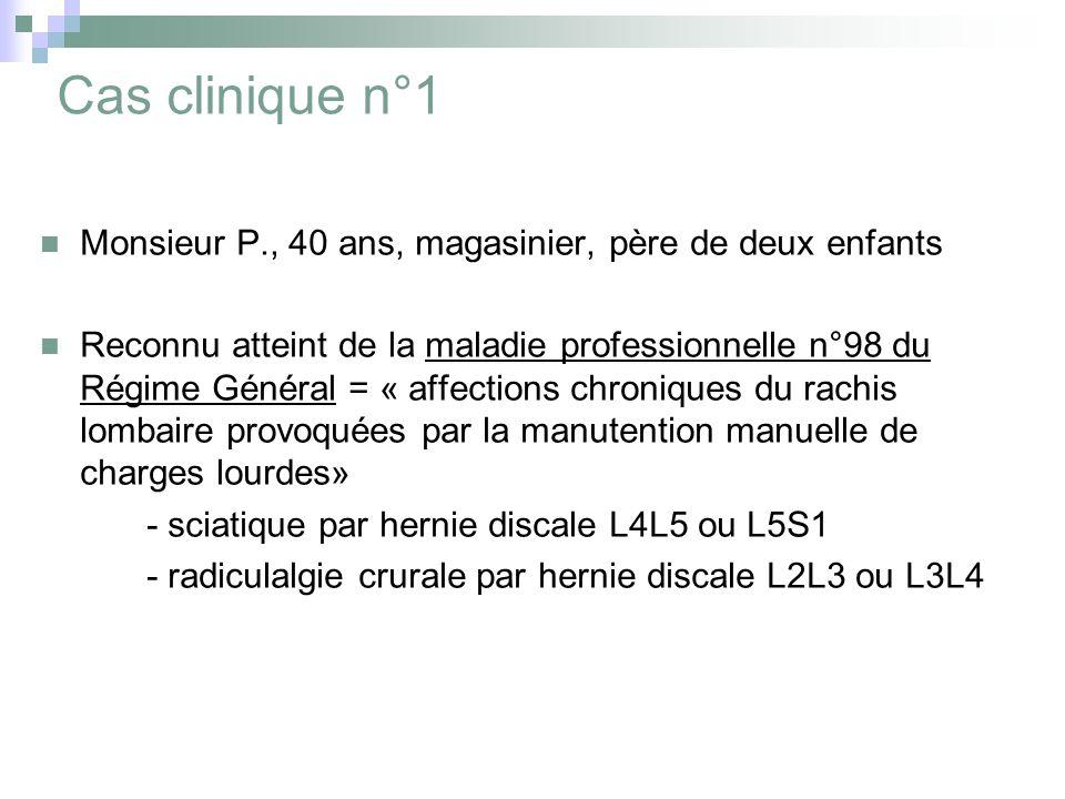 Cas clinique n°1 Monsieur P., 40 ans, magasinier, père de deux enfants Reconnu atteint de la maladie professionnelle n°98 du Régime Général = « affections chroniques du rachis lombaire provoquées par la manutention manuelle de charges lourdes» - sciatique par hernie discale L4L5 ou L5S1 - radiculalgie crurale par hernie discale L2L3 ou L3L4