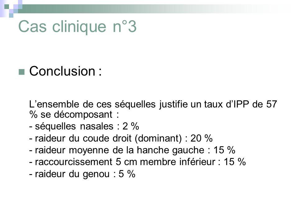 Cas clinique n°3 Conclusion : Lensemble de ces séquelles justifie un taux dIPP de 57 % se décomposant : - séquelles nasales : 2 % - raideur du coude droit (dominant) : 20 % - raideur moyenne de la hanche gauche : 15 % - raccourcissement 5 cm membre inférieur : 15 % - raideur du genou : 5 %
