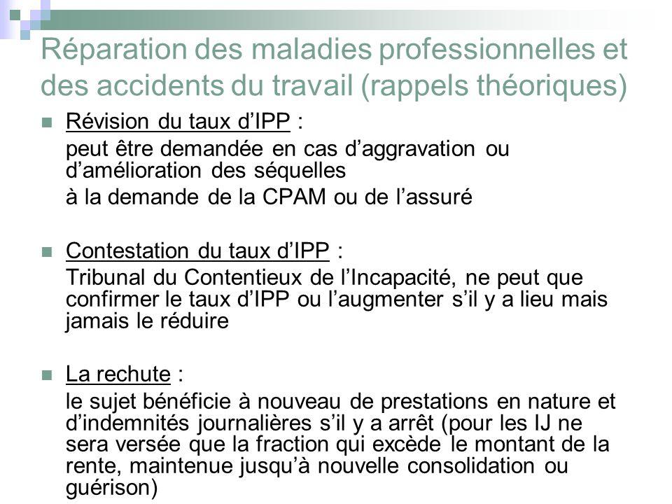 Réparation des maladies professionnelles et des accidents du travail (rappels théoriques) Révision du taux dIPP : peut être demandée en cas daggravati