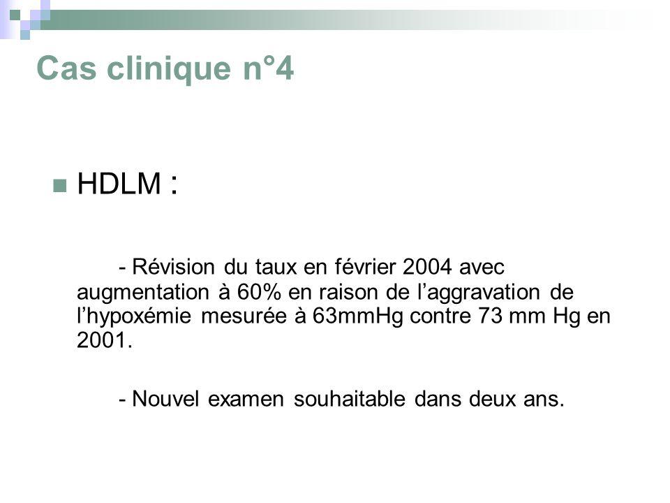 Cas clinique n°4 HDLM : - Révision du taux en février 2004 avec augmentation à 60% en raison de laggravation de lhypoxémie mesurée à 63mmHg contre 73 mm Hg en 2001.