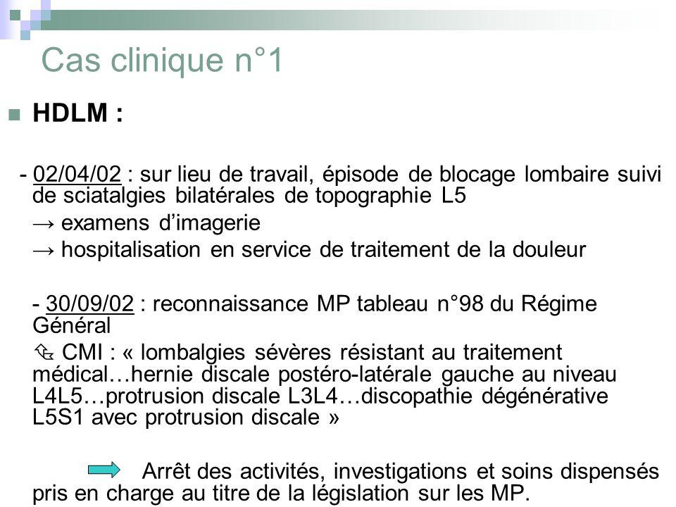 Cas clinique n°1 HDLM : - 02/04/02 : sur lieu de travail, épisode de blocage lombaire suivi de sciatalgies bilatérales de topographie L5 examens dimag