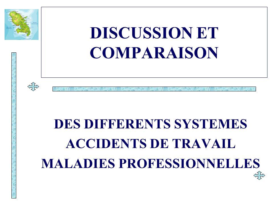 DISCUSSION ET COMPARAISON DES DIFFERENTS SYSTEMES ACCIDENTS DE TRAVAIL MALADIES PROFESSIONNELLES