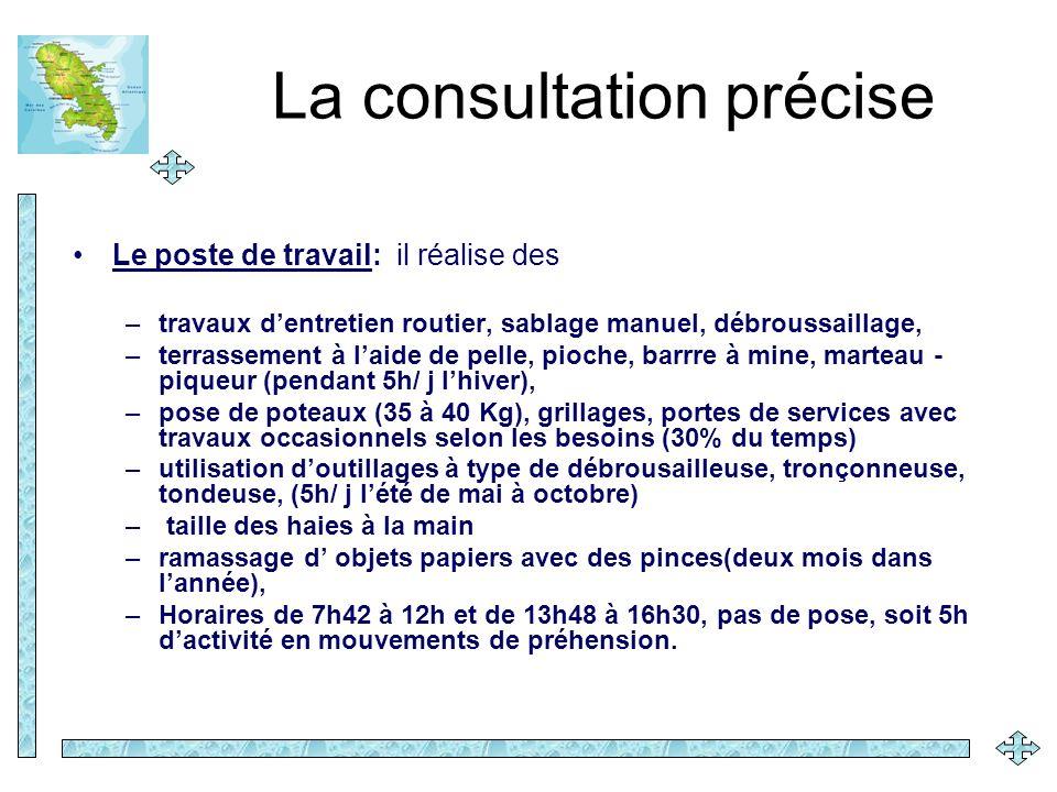 La consultation précise Le poste de travail: il réalise des –travaux dentretien routier, sablage manuel, débroussaillage, –terrassement à laide de pel