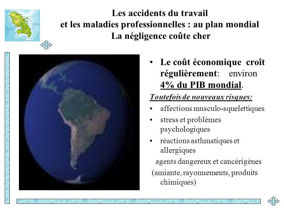 Les accidents du travail et les maladies professionnelles : au plan mondial La négligence coûte cher Le coût économique croît régulièrement: environ 4