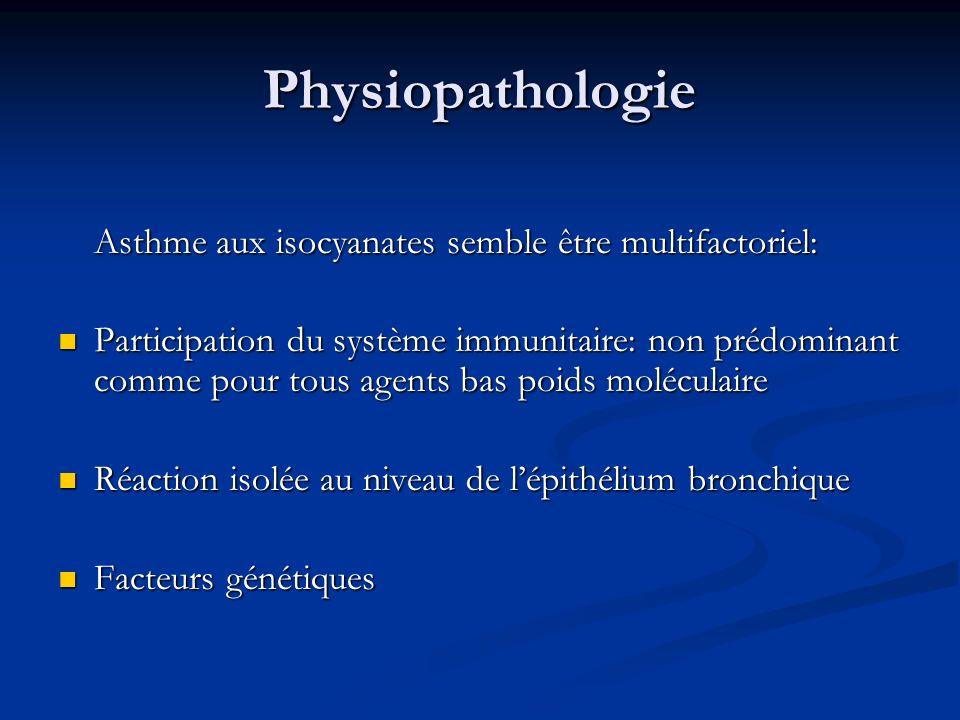 Physiopathologie Asthme aux isocyanates semble être multifactoriel: Participation du système immunitaire: non prédominant comme pour tous agents bas p