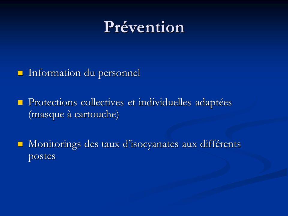 Prévention Information du personnel Information du personnel Protections collectives et individuelles adaptées (masque à cartouche) Protections collec