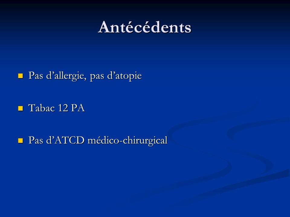 Antécédents Pas dallergie, pas datopie Pas dallergie, pas datopie Tabac 12 PA Tabac 12 PA Pas dATCD médico-chirurgical Pas dATCD médico-chirurgical