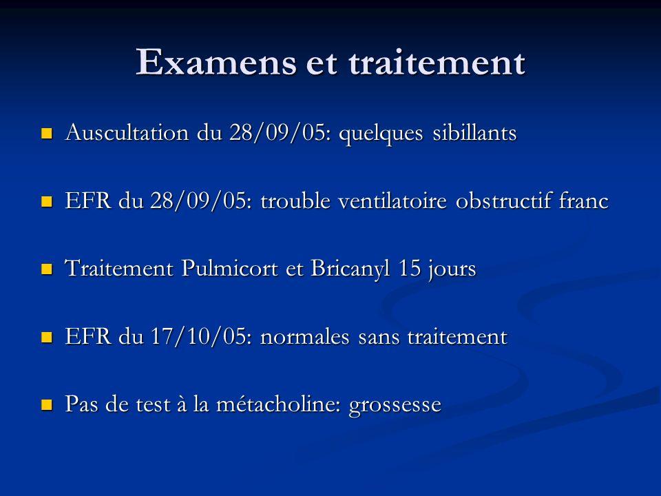 Examens et traitement Auscultation du 28/09/05: quelques sibillants Auscultation du 28/09/05: quelques sibillants EFR du 28/09/05: trouble ventilatoir