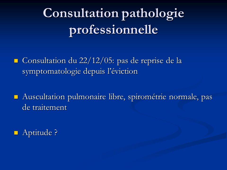 Consultation pathologie professionnelle Consultation du 22/12/05: pas de reprise de la symptomatologie depuis léviction Consultation du 22/12/05: pas