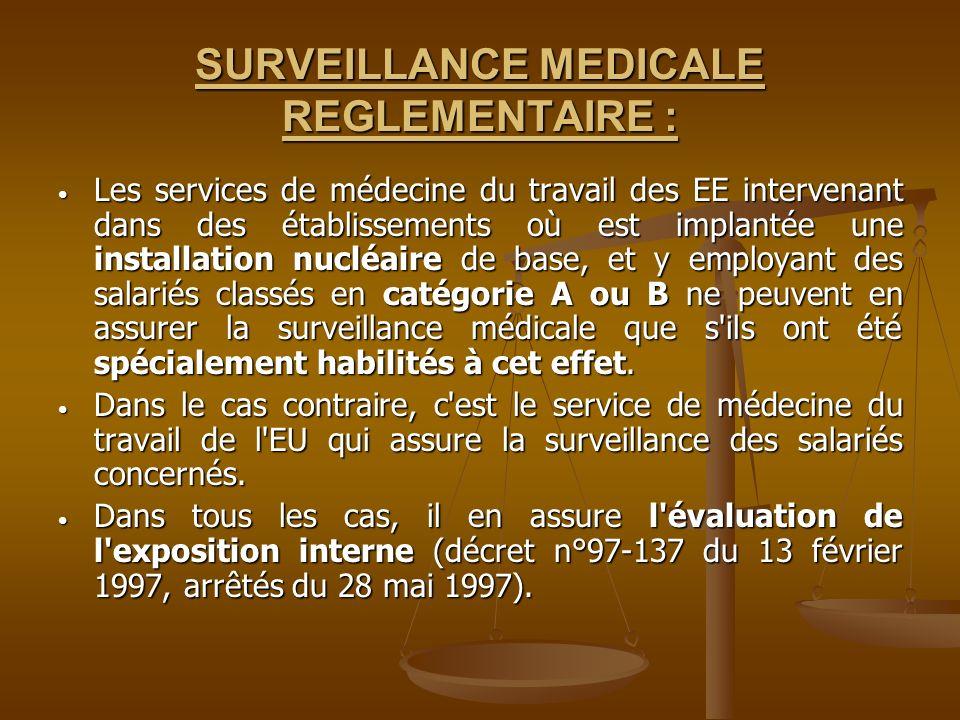 SURVEILLANCE MEDICALE REGLEMENTAIRE : Les services de médecine du travail des EE intervenant dans des établissements où est implantée une installation