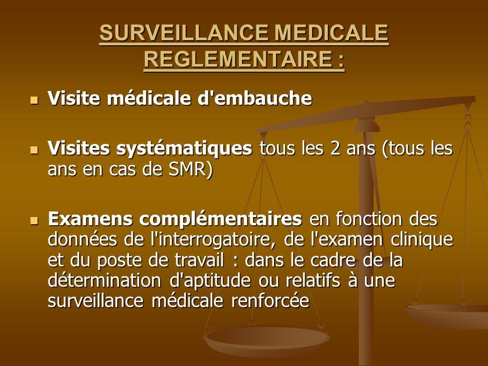 SURVEILLANCE MEDICALE REGLEMENTAIRE : Visite médicale d'embauche Visite médicale d'embauche Visites systématiques tous les 2 ans (tous les ans en cas