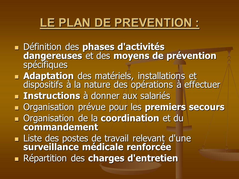LE PLAN DE PREVENTION : Définition des phases d'activités dangereuses et des moyens de prévention spécifiques Définition des phases d'activités danger