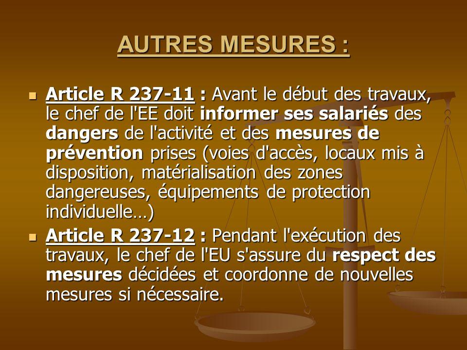 AUTRES MESURES : Article R 237-11 : Avant le début des travaux, le chef de l'EE doit informer ses salariés des dangers de l'activité et des mesures de