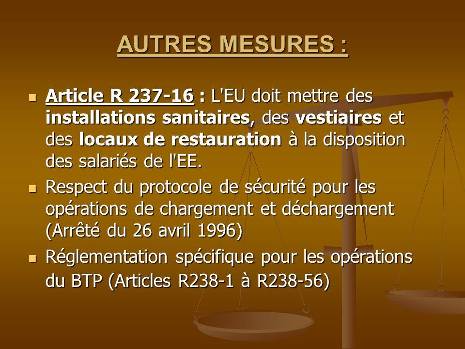 AUTRES MESURES : Article R 237-16 : L'EU doit mettre des installations sanitaires, des vestiaires et des locaux de restauration à la disposition des s