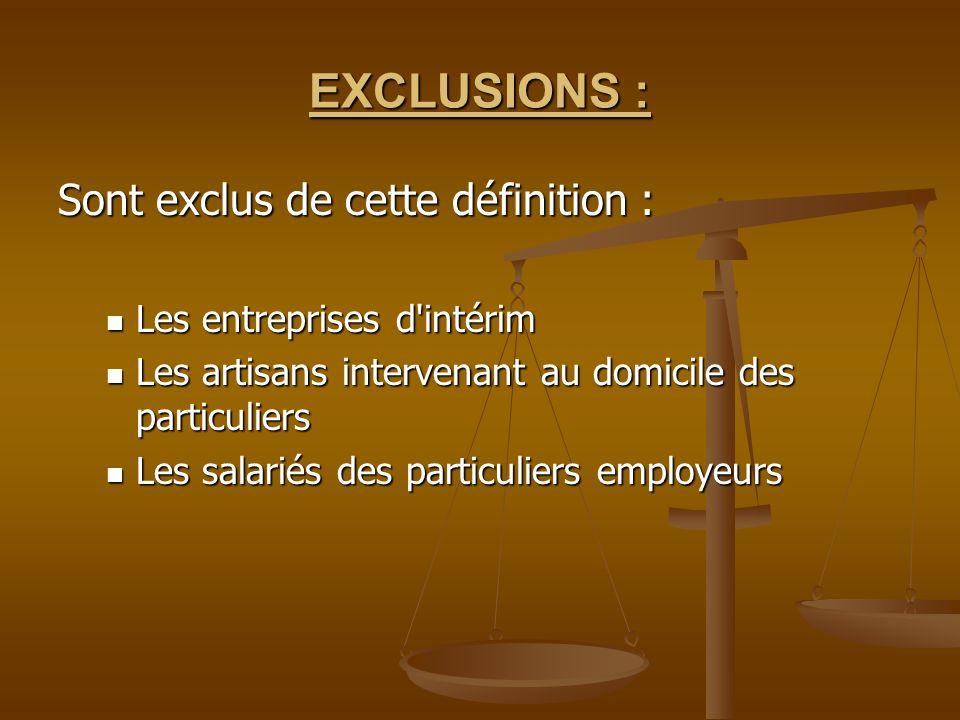 EXCLUSIONS : Sont exclus de cette définition : Les entreprises d'intérim Les entreprises d'intérim Les artisans intervenant au domicile des particulie