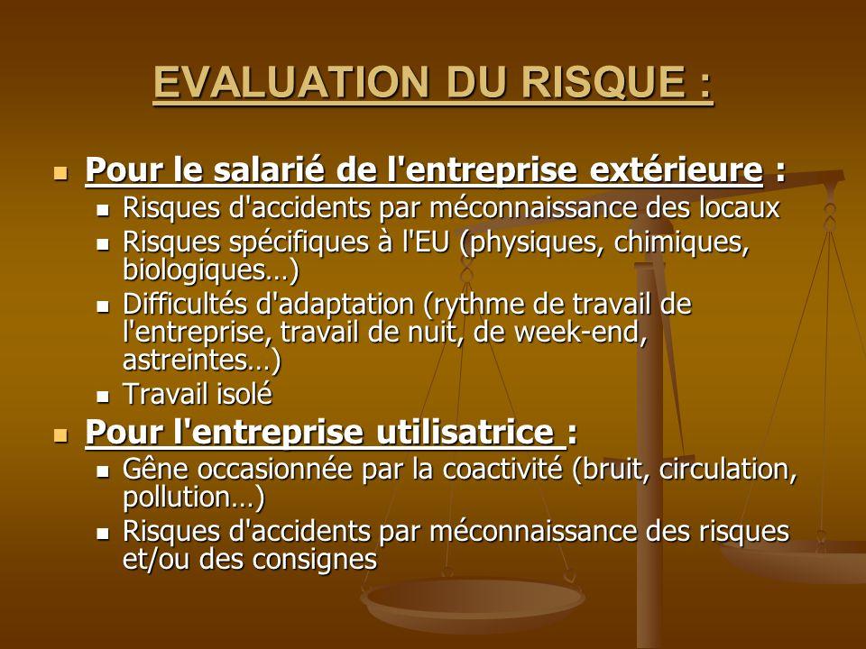 EVALUATION DU RISQUE : Pour le salarié de l'entreprise extérieure : Pour le salarié de l'entreprise extérieure : Risques d'accidents par méconnaissanc