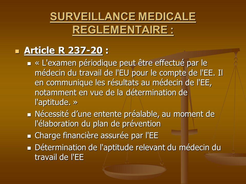 SURVEILLANCE MEDICALE REGLEMENTAIRE : Article R 237-20 : Article R 237-20 : « L'examen périodique peut être effectué par le médecin du travail de l'EU