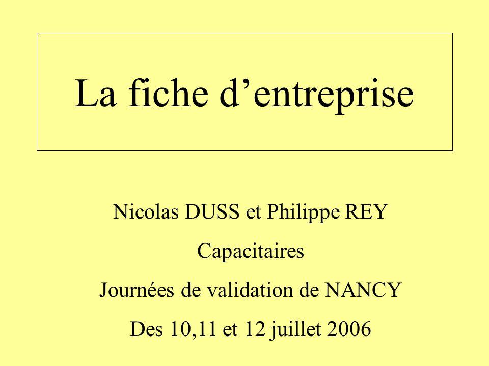 La fiche dentreprise Nicolas DUSS et Philippe REY Capacitaires Journées de validation de NANCY Des 10,11 et 12 juillet 2006