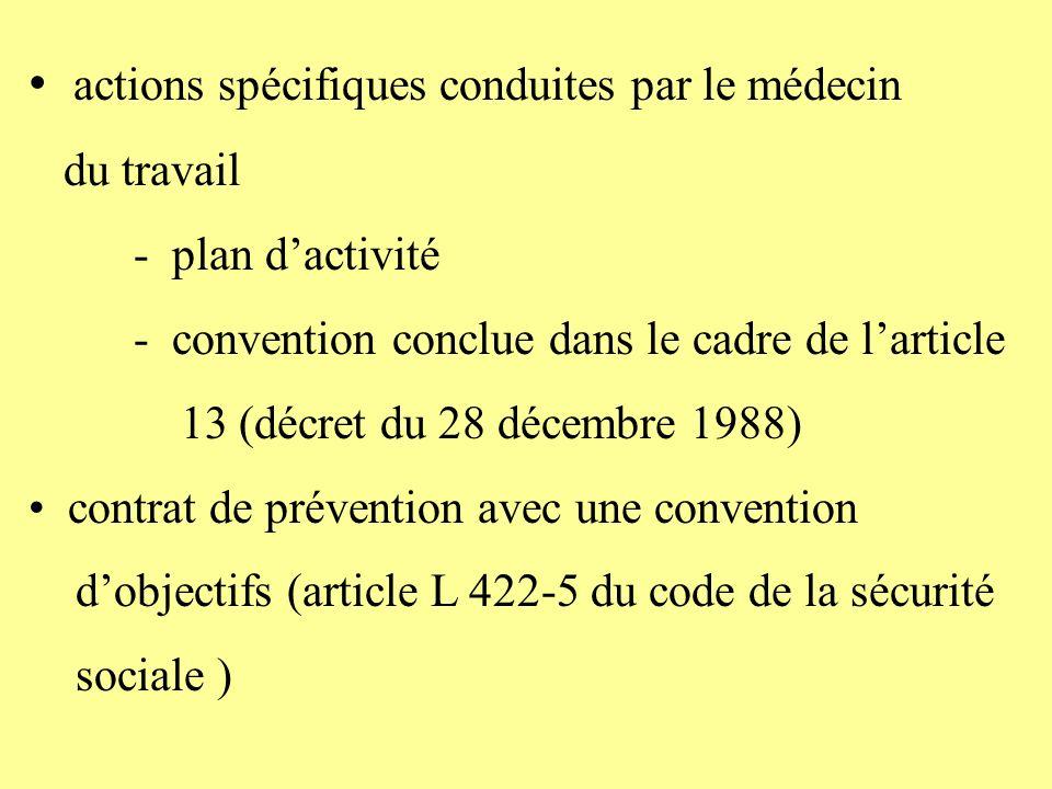 actions spécifiques conduites par le médecin du travail - plan dactivité - convention conclue dans le cadre de larticle 13 (décret du 28 décembre 1988