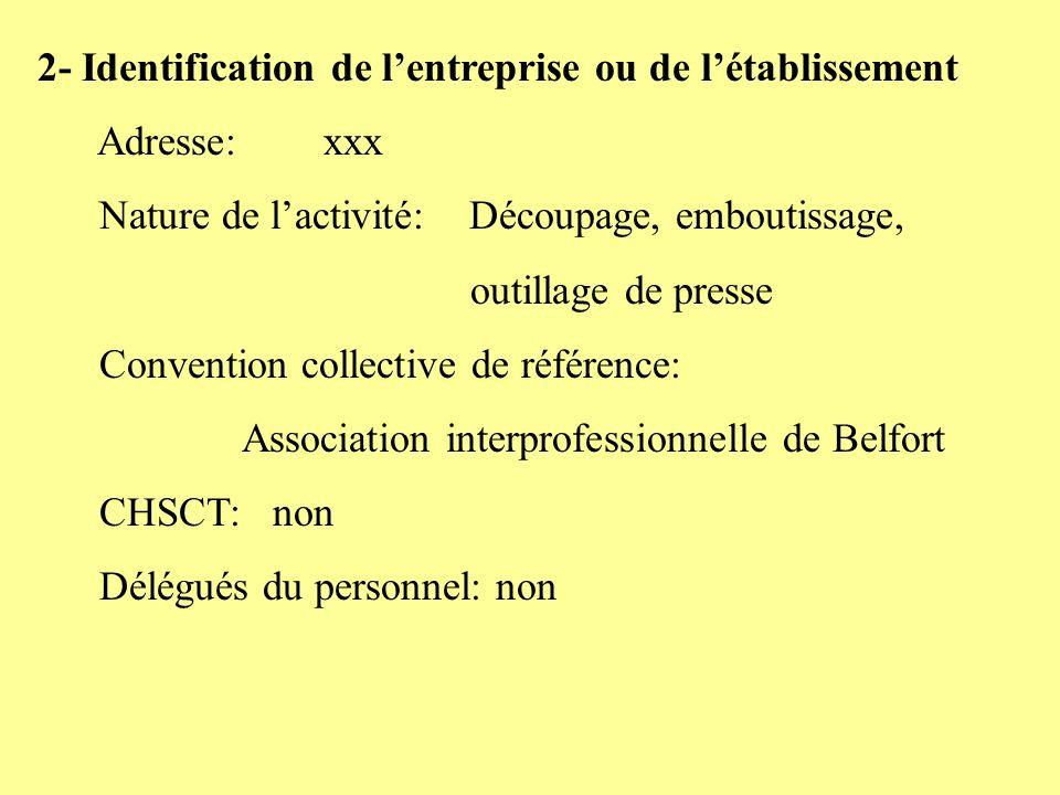 2- Identification de lentreprise ou de létablissement Adresse: xxx Nature de lactivité: Découpage, emboutissage, outillage de presse Convention collec
