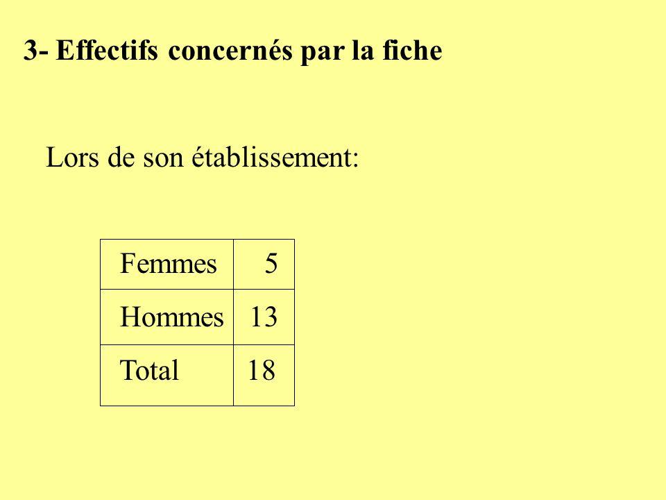 3- Effectifs concernés par la fiche Lors de son établissement: Femmes 5 Hommes 13 Total 18