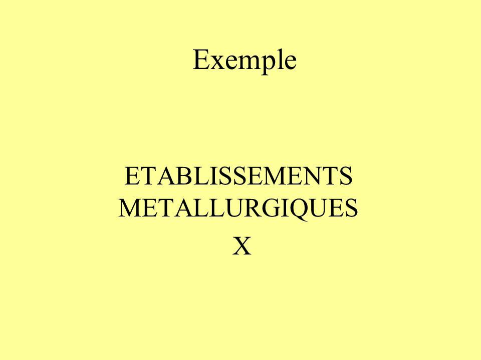 Exemple ETABLISSEMENTS METALLURGIQUES X