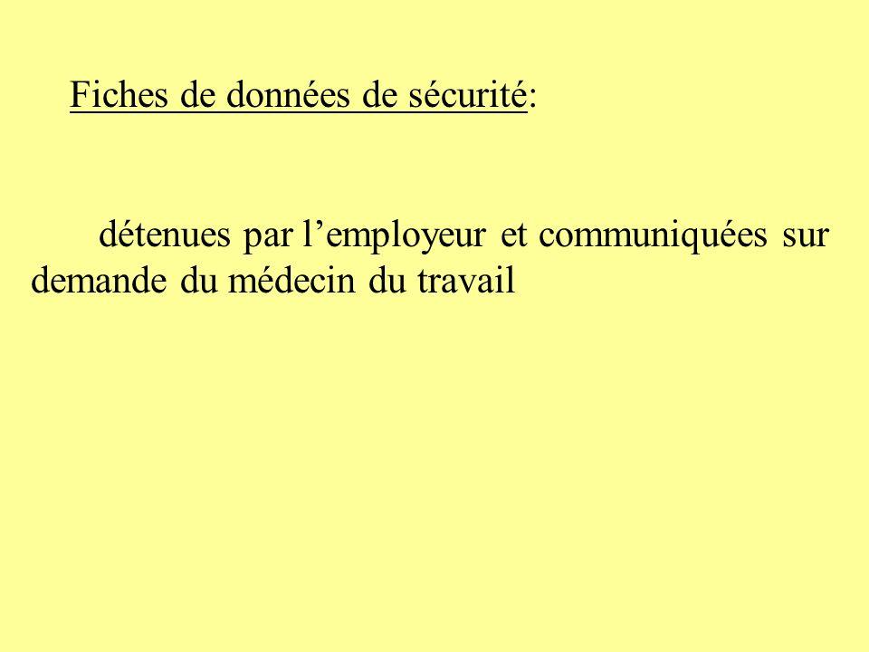 Fiches de données de sécurité: détenues par lemployeur et communiquées sur demande du médecin du travail