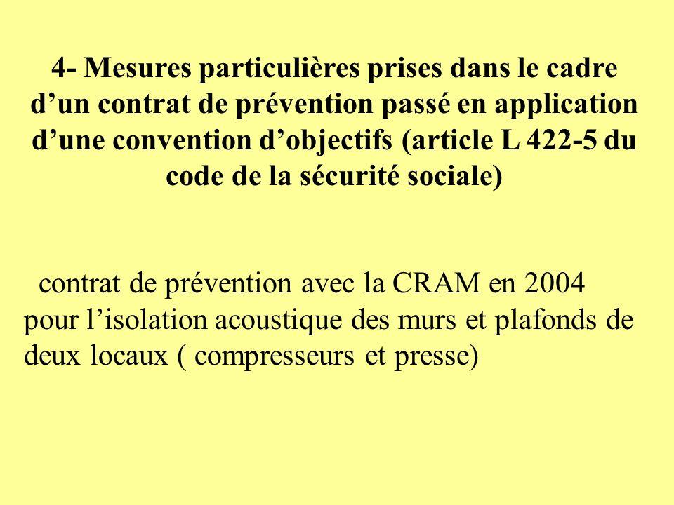 4- Mesures particulières prises dans le cadre dun contrat de prévention passé en application dune convention dobjectifs (article L 422-5 du code de la