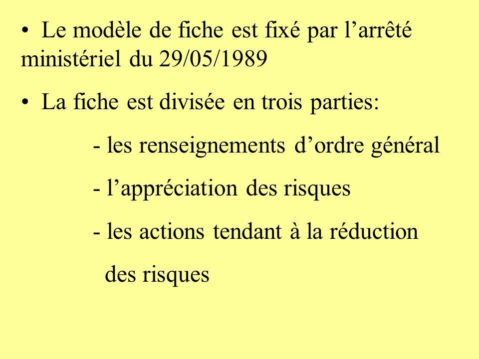 Le modèle de fiche est fixé par larrêté ministériel du 29/05/1989 La fiche est divisée en trois parties: - les renseignements dordre général - lappréc