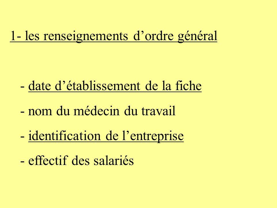 1- les renseignements dordre général - date détablissement de la fiche - nom du médecin du travail - identification de lentreprise - effectif des sala