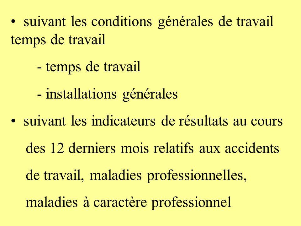 suivant les conditions générales de travail temps de travail - temps de travail - installations générales suivant les indicateurs de résultats au cour
