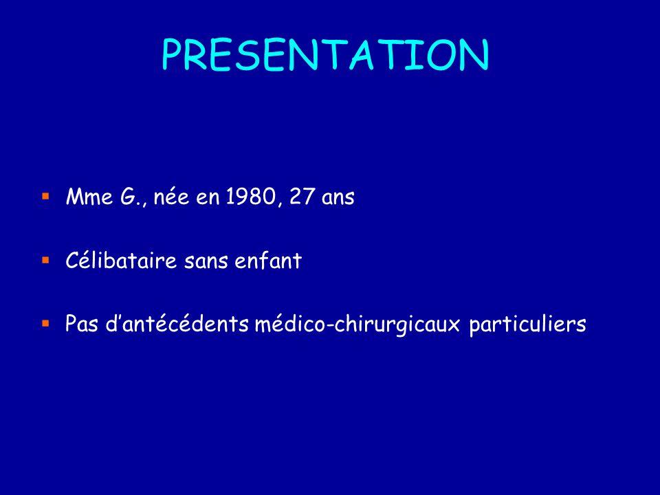 PRESENTATION Mme G., née en 1980, 27 ans Célibataire sans enfant Pas dantécédents médico-chirurgicaux particuliers
