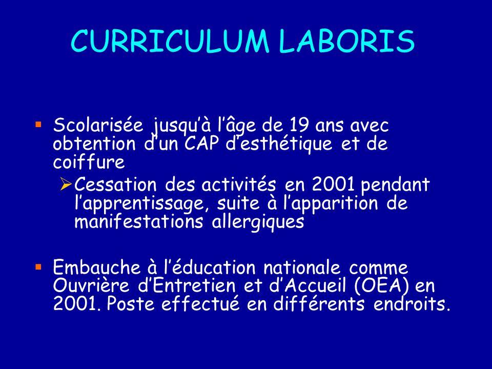 CURRICULUM LABORIS Scolarisée jusquà lâge de 19 ans avec obtention dun CAP desthétique et de coiffure Cessation des activités en 2001 pendant lapprentissage, suite à lapparition de manifestations allergiques Embauche à léducation nationale comme Ouvrière dEntretien et dAccueil (OEA) en 2001.