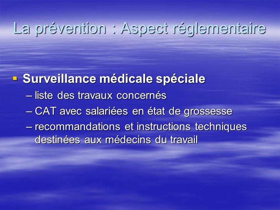 La prévention : Aspect réglementaire Surveillance médicale spéciale Surveillance médicale spéciale –liste des travaux concernés –CAT avec salariées en