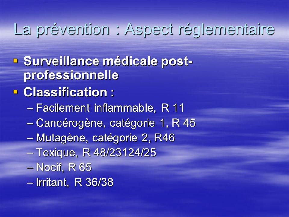 La prévention : Aspect réglementaire Surveillance médicale post- professionnelle Surveillance médicale post- professionnelle Classification : Classifi