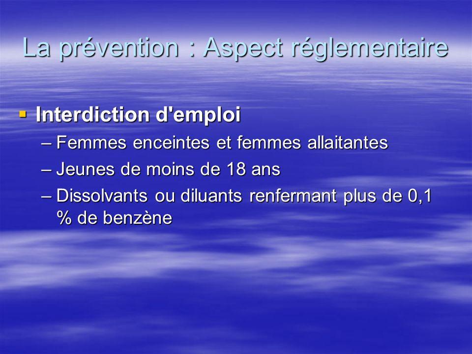 La prévention : Aspect réglementaire Interdiction d'emploi Interdiction d'emploi –Femmes enceintes et femmes allaitantes –Femmes enceintes et femmes a