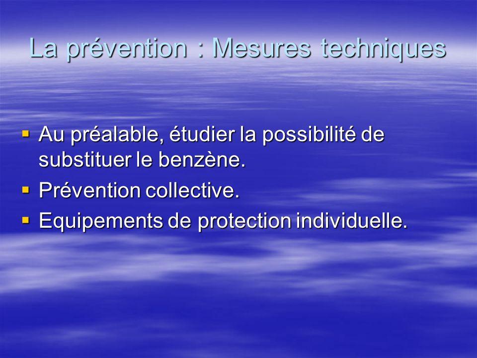 La prévention : Mesures techniques Au préalable, étudier la possibilité de substituer le benzène. Au préalable, étudier la possibilité de substituer l