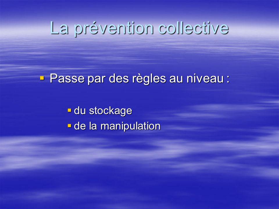 La prévention collective Passe par des règles au niveau : Passe par des règles au niveau : du stockage du stockage de la manipulation de la manipulati