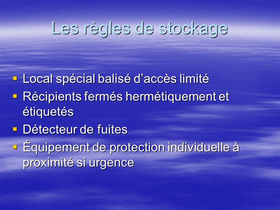 Les règles de stockage Local spécial balisé daccès limité Local spécial balisé daccès limité Récipients fermés hermétiquement et étiquetés Récipients