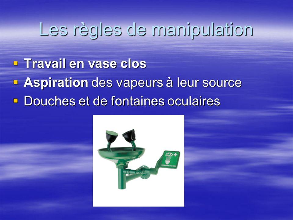 Les règles de manipulation Travail en vase clos Travail en vase clos Aspiration des vapeurs à leur source Aspiration des vapeurs à leur source Douches