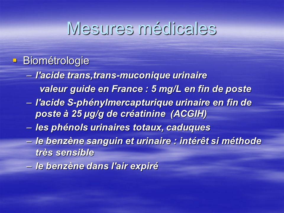 Mesures médicales Biométrologie Biométrologie –l'acide trans,trans-muconique urinaire valeur guide en France : 5 mg/L en fin de poste valeur guide en