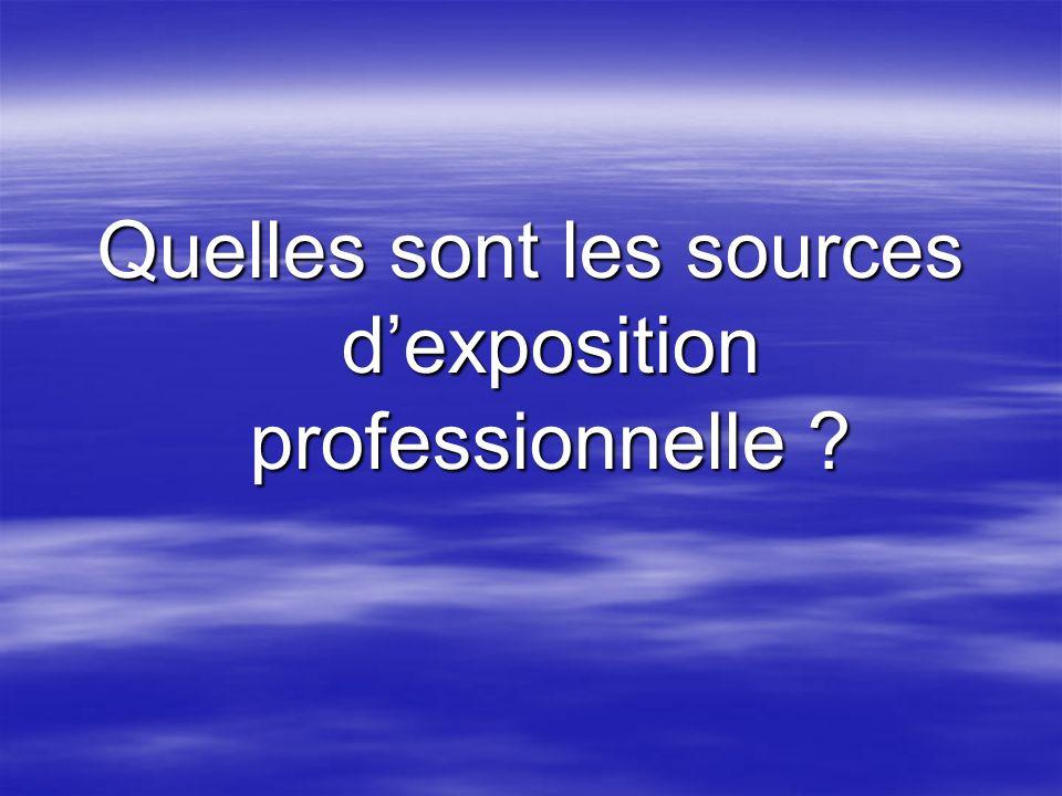 Quelles sont les sources dexposition professionnelle ?