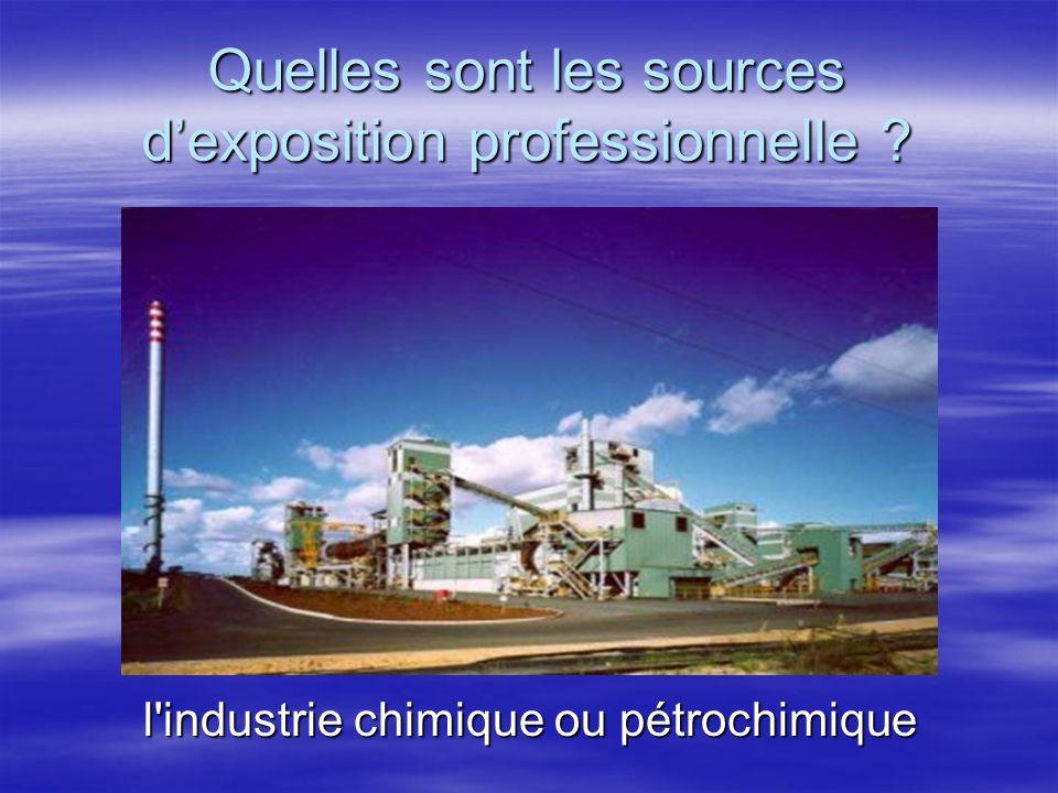 Quelles sont les sources dexposition professionnelle ? l'industrie chimique ou pétrochimique l'industrie chimique ou pétrochimique