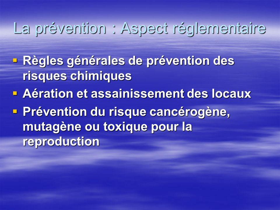 La prévention : Aspect réglementaire Valeurs limites d exposition professionnelle : Valeurs limites d exposition professionnelle : –VME fixée à 3,25 mg/m3 ou 1 ppm depuis fin 2003.