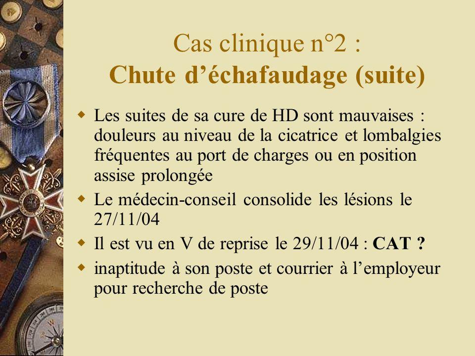 Cas clinique n°2 : Chute déchafaudage (suite) Les suites de sa cure de HD sont mauvaises : douleurs au niveau de la cicatrice et lombalgies fréquentes