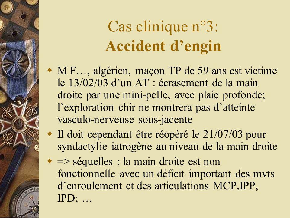 Cas clinique n°3: Accident dengin M F…, algérien, maçon TP de 59 ans est victime le 13/02/03 dun AT : écrasement de la main droite par une mini-pelle,
